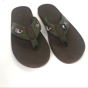 Vineyard Vines Flag Whale Flip Flops Army Green